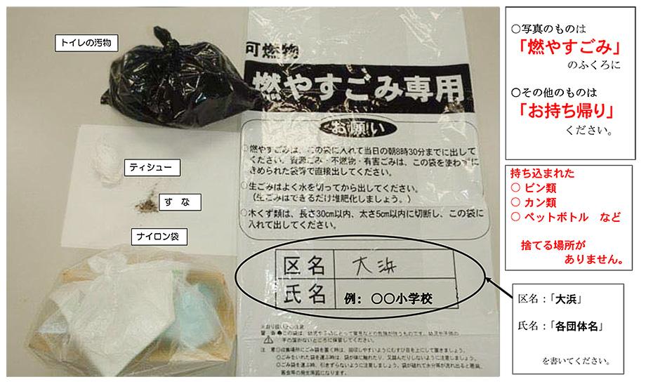 トイレの汚物、ティッシュ、ナイロン袋、すなは「燃やすごみ」専用の袋に入れます。その他のものはお持ち帰りください。持ち込まれたビン類、カン類、ペットボトルなど捨てる場所がありません。
